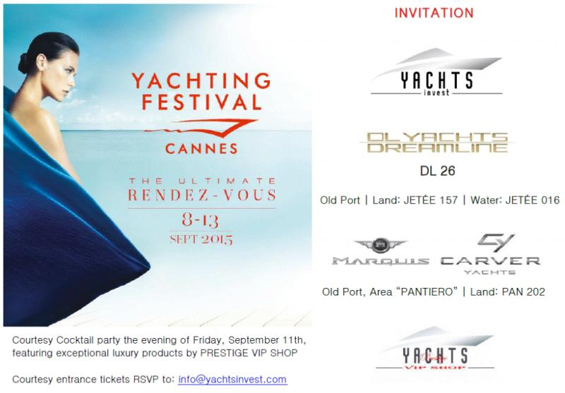 Cannes Yachting Festival 2015 Invitation