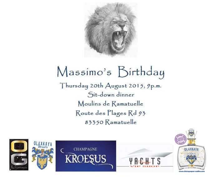 Launch of Prestige VIP Shop and Sponsoring of Mr Massimo Gargia's Birthday Party in St Tropez